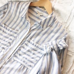 Cato Striped Oversized Button Up Light Blue